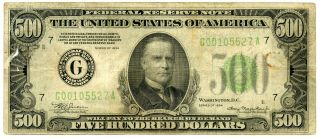 Series 1934 Us $500 Federal Reserve Note | Fine,