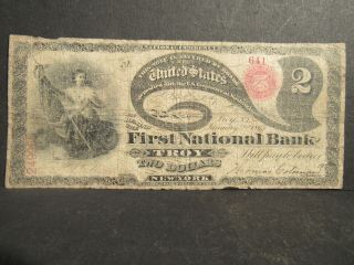 Troy,  Ny First National Bank Note 1865 National Currency 2 Dollars