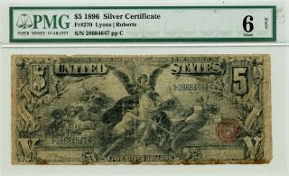 Fr 270 1896 $5 Large Size Silver Certificate Educational Note Pmg 6 Good