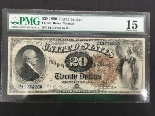 Usa 20 Dollars 1880 Legal Tender Note (large Brown) - - Pmg 15 Choice Fine
