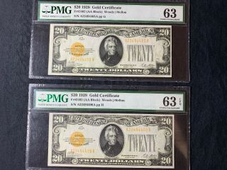 1928 $20 Consecutive Gold Certificate ( (rare))  Pmg Choice Unc 63epq Sequential