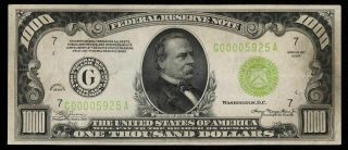 LGS 4 Digit Chicago ONE THOUSAND 1934 $1000 DOLLAR BILL 500 FR2211G 2