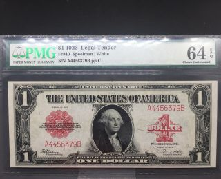 1923 $1 Legal Tender Fr - 40 Red Seal Graded Pmg 64epq Note