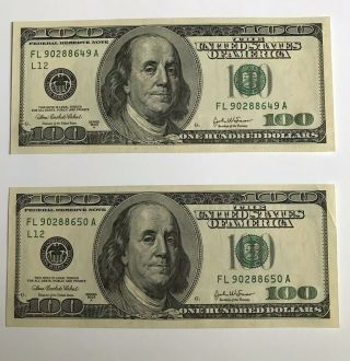 Two Sequential 2003 Unc $100 One Hundred Dollar Bills Federal Reserve Notes