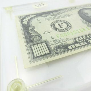 1934 F $1000 U.  S Bill Federal Reserve Note Low Serial Number Cond. 2