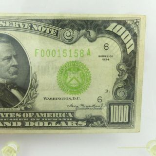 1934 F $1000 U.  S Bill Federal Reserve Note Low Serial Number Cond. 4