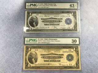 $1 - Two One Dollar Bills 1918 - Pmg - 30 Veery Fine - 63 Choice Circulated