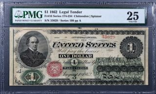 1862 $1 Legal Tender Large Note Chittenden/spinner Fr 16 Pmg 25 Very Fine A1334