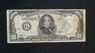 1934 One Thousand Dollar Fed Reserve Note Chicago Highly Sought $1000 Bill