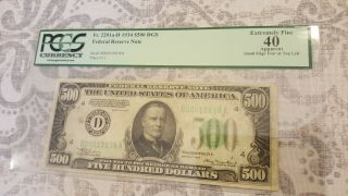 Extremely Rare 1934a 500 Dollar Bill (d) Cleveland Graded At A 40