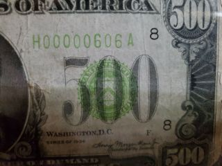1934 $500 Dollar Bill Low Serial Number