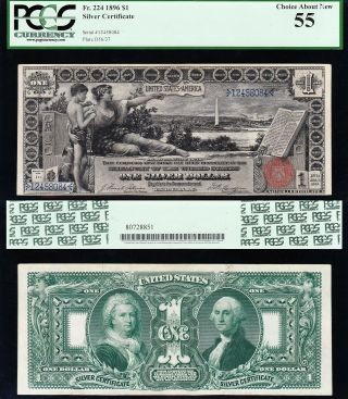 Awesome 1896 $1 Educational Silver Cert Pcgs 55 12458084