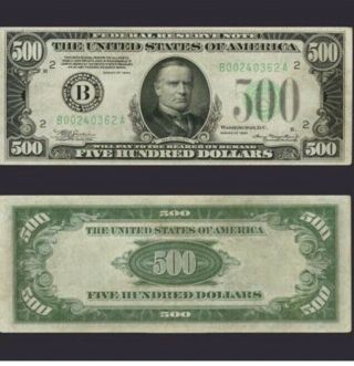 Series 1934 Five Hundred Dollar Federal Reserve Note