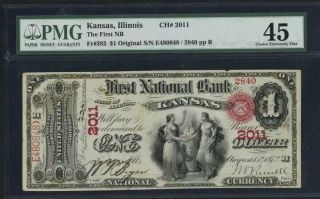 $1 Pmg 45 First National Bank Of Kansas,  Illinois Fr 392