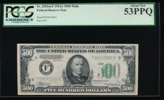 """Set Of 1934 $500,  $100,  $50 ($500 Pcgs About 53 """" Ppq """")"""