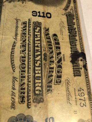The Grange National Bank Of Spartansburg Pa Crawford County Rarity 1902 $20 Note
