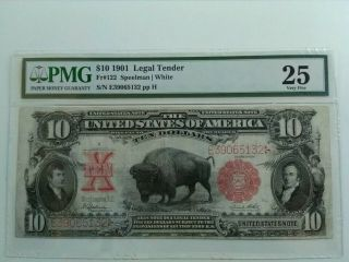 1901,  $10,  Buffalo,  United States Note,  Legal Tender,  Pmg Vf - 25