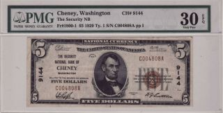 1929 $5 Bill National Currency Cheney,  Wa Pmg 30 Very Fine S/n C004808a Ch 9144