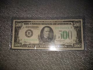 1934 500 Dollar Bill Us Paper Money