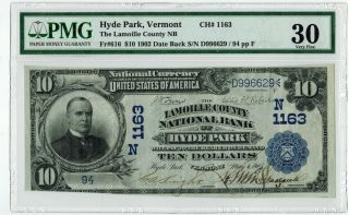 1902 $10 Hyde Park Vermont Lamoille County National Bank Date Back Pmg30