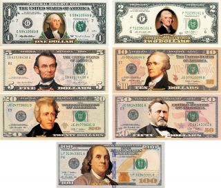 Set Of All 7 Colorized 2 - Sided U.  S.  Bills Currency $1/$2/$5/$10/$20/$50/$100