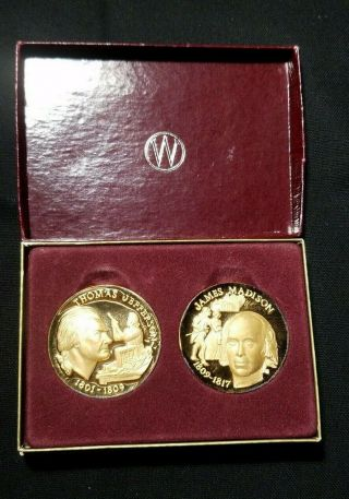 925 Sterling Silver Medal Of Thomas Jefferson & James Madison Set.
