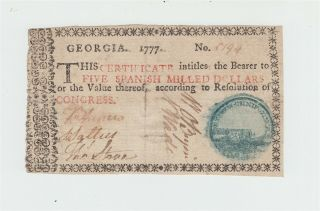 1777 Georgia Colonial Currency - $5 Five Dollar Note / Border Type D
