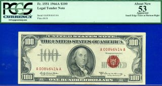=fr - 1551 1966 - A $100 Us Note Pcgs About - 53 Net A00846414a