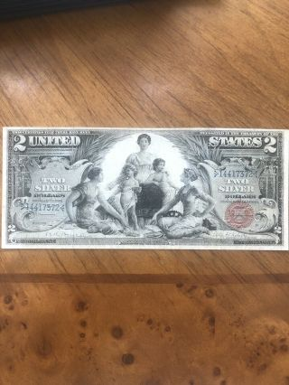 1896 $2 Silver Certificate Us Two Dollar Educational Large Note Bill Fr248 Vf/xf