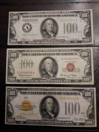 3 Different Seal Colored $100 Notes - 1928 Gold - 1934 - Frn - 1966 $100 Legal (read)