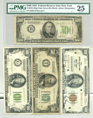 $750 Fv $50 And $100 1928 Frns,  1929 Frbn,  1934 $500 Bill In Pmg Very Fine 25