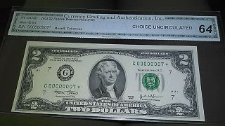 2003 $2 Lucky Seven Low Serial 00000007 Star Note.  C.  G.  A.  Cu 64