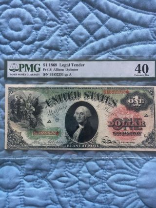 1869 $1 Legal Tender Fr - 18 Rainbow Note Pmg Ex Fine 40 Very Pretty