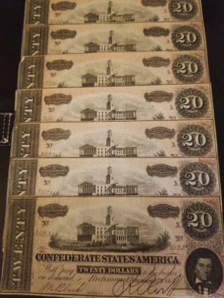 1864 45 Uncirculated Confederate Currency Consecutive Serial Numbers 20 Dollar