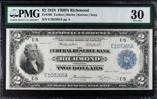 1918 $2 Federal Reserve Bank Note Richmond Pmg 30 Fr.  760