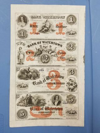 Bank Of Watertown,  Wisconsin Uncut Sheet Of Obselete Bank Notes