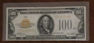 1928 $100 Dollars Gold Certificate Currency Note