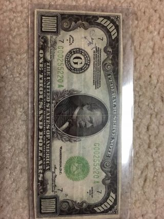 1000 One Thousand 1,  000.  00 Dollar Bill Currency 1934 A Chicago Illinois