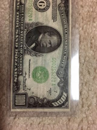 1000 ONE THOUSAND 1,  000.  00 DOLLAR BILL CURRENCY 1934 A chicago illinois 3