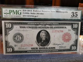 Scarce - Fr - 900a $10 1914 Red Seal Frn Minneapolis,  Mn (only 60 Recorded) Pmg 35