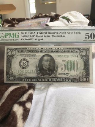 500$ 1934a Federal Reserve Note Pmg 50 Undergraded