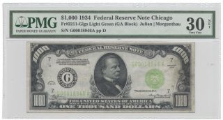 1934 $1000 Chicago Lgs One Thousand Dollar Bill Pmg 30