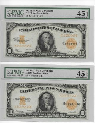 1922 Sequential $10.  00 Hillegass Large Gold Notes Higher Epq Grade