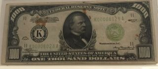 1934 $1000 One Thousand Dollar Bill Old Currency Note Dallas Texas