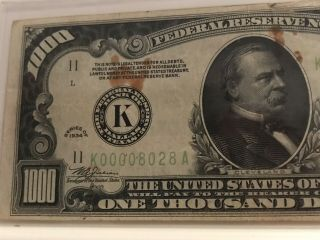 1934 $1000 ONE THOUSAND DOLLAR BILL OLD CURRENCY NOTE DALLAS TEXAS 2