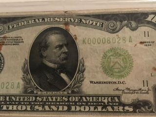 1934 $1000 ONE THOUSAND DOLLAR BILL OLD CURRENCY NOTE DALLAS TEXAS 3