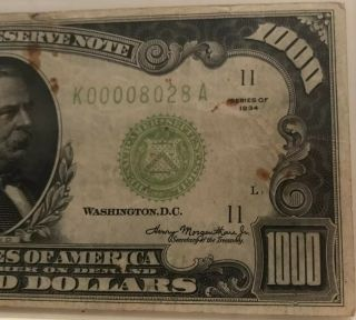1934 $1000 ONE THOUSAND DOLLAR BILL OLD CURRENCY NOTE DALLAS TEXAS 4