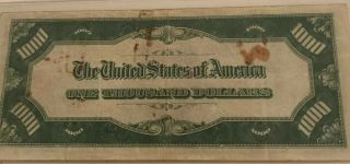 1934 $1000 ONE THOUSAND DOLLAR BILL OLD CURRENCY NOTE DALLAS TEXAS 5