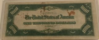 1934 $1000 ONE THOUSAND DOLLAR BILL OLD CURRENCY NOTE DALLAS TEXAS 6