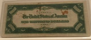 1934 $1000 ONE THOUSAND DOLLAR BILL OLD CURRENCY NOTE DALLAS TEXAS 7